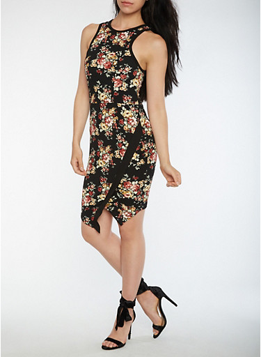 Textured Knit Floral Bodycon Dress,BLACK MULTI,large
