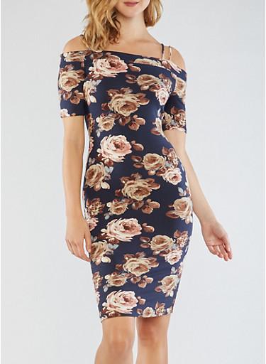 Cold Shoulder Printed Midi Dress,NAVY,large