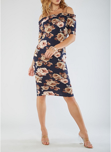 Cold Shoulder Floral Midi Dress,NAVY,large