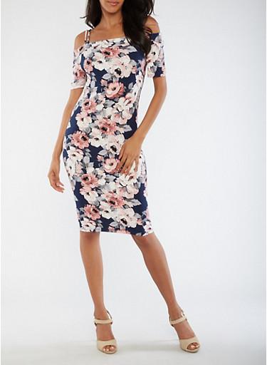 Floral Off the Shoulder Midi Dress,NAVY,large