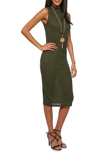 Mock Neck Dress with Removable Necklace,OLIVE,large