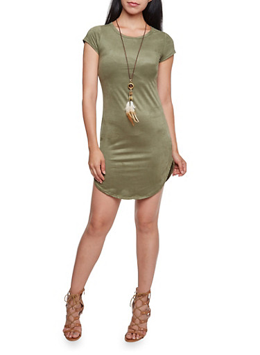 Faux Suede Dress with Removable Necklace,OLIVE,large