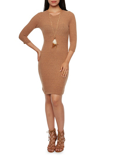 Rib-Knit Dress with Necklace,CAMEL,large