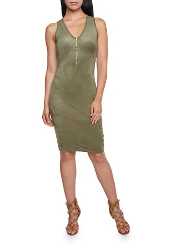 Bodycon Dress with Zippered Neckline,OLIVE,large