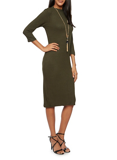 Long Sleeve Dress with Removable Necklace,OLIVE,large