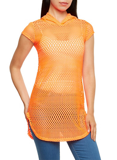 Perforated Tunic Top with Hood,NEON ORANGE,large