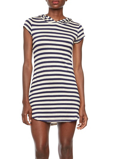 Striped Dress with Hood,IVORY/NAVY,large