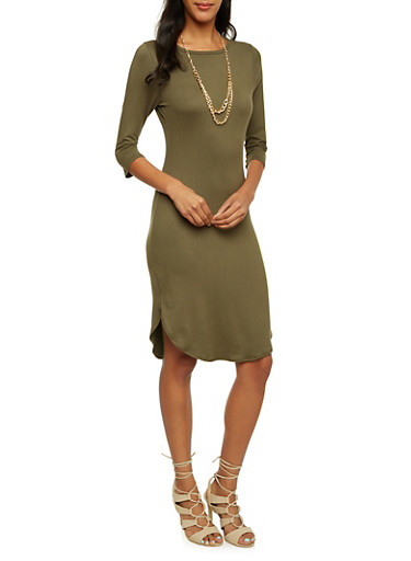 Bodycon Midi Dress with Chain Necklace,OLIVE,large