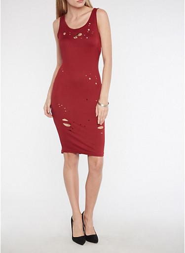 Soft Knit Laser Cut Midi Dress,BURGUNDY,large