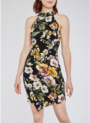 Floral Textured Knit Sleeveless Dress,BLACK,large