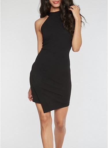 High Neck Asymmetrical Hem Bodycon Dress,BLACK,large
