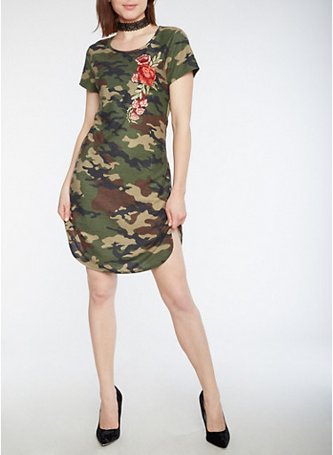Short Sleeve Camo Dress with Floral Applique,OLIVE,large