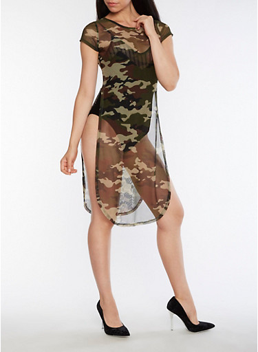 Camo Mesh Dress with Open Sides,OLIVE,large