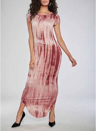 Short Sleeve Tie Dye Maxi Dress,MAUVE,large