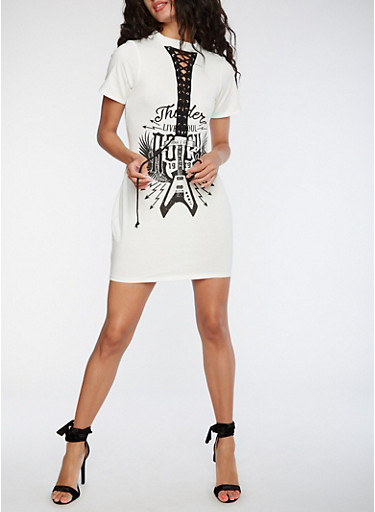 Rock Graphic Lace Up Dress,WHITE,large