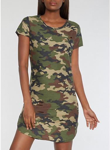 Ripped Camo T Shirt Dress,OLIVE,large
