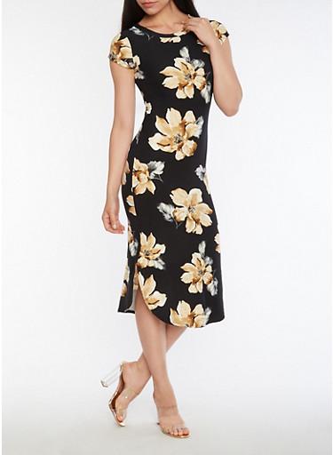 Floral Soft Knit Side Slit Dress,KHAKI,large