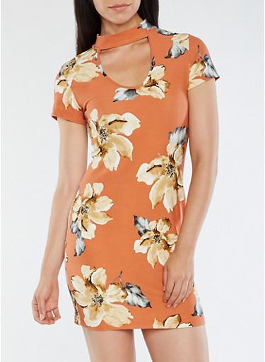 Soft Knit Floral Bodycon Dress,KHAKI,large