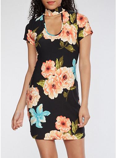Floral Choker Neck Bodycon Dress,BLACK,large