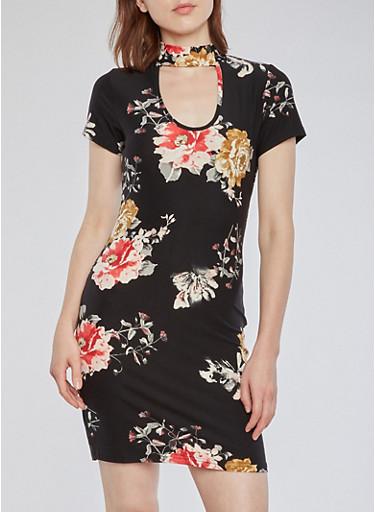 Floral Choker T Shirt Dress,WHT-BLK,large