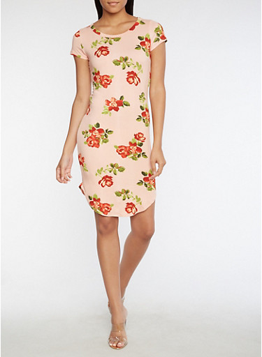 Short Sleeve Soft Knit Floral Print Dress,MAUVE-B,large