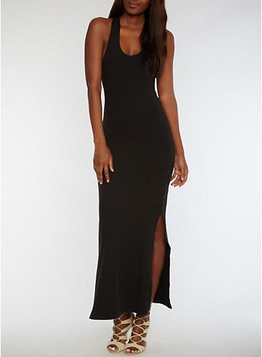 Soft Knit Racerback Maxi Dress,BLACK,large