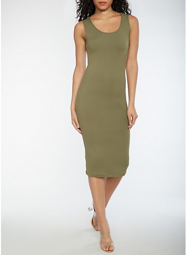 Soft Knit Midi Bodycon Dress,OLIVE,large