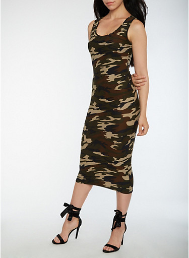 Soft Knit Midi Camo Bodycon Dress,CAMOUFLAGE,large