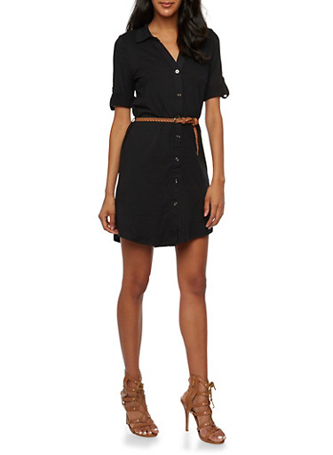 Shirt Dress with Button Cuff Sleeves,BLACK,large