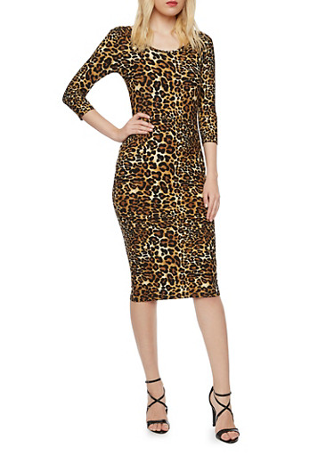 Bodycon Dress with Leopard Print,BLACK,large