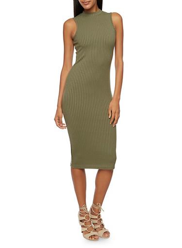 Rib Knit Sleeveless Mock Neck Midi Dress,OLIVE,large