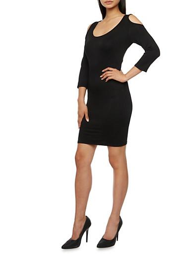 Mini Bodycon Dress with Cutout Shoulders,BLACK,large