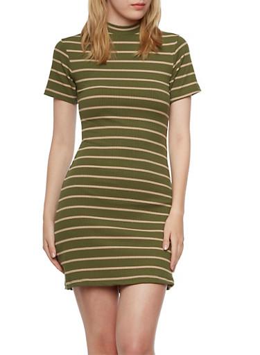 Rib Knit Dress in Stripes,OLIVE/.TAN,large