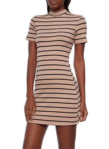 Rib Knit Dress with Mock Neck,MOCHA/BLACK,large