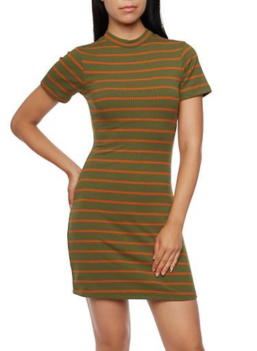 Striped Rib Knit Dress with Mock Neck,OLIVE/CARAMEL,large