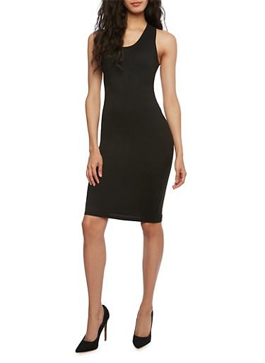 Sleeveless Bodycon Dress with Racerback,BLACK,large