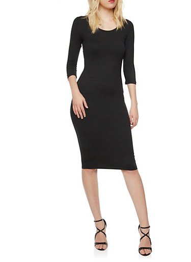 Bodycon Midi Dress,BLACK,large