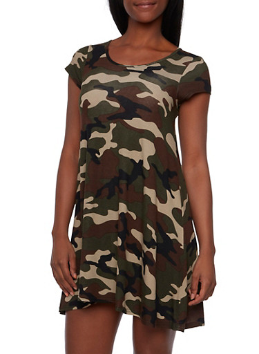 Swing Dress in Camo Print,CAMOUFLAGE,large
