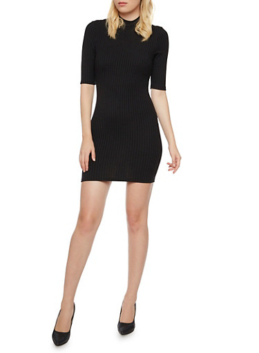 Ribbed Bodycon Dress with Mock Neck,BLACK,large