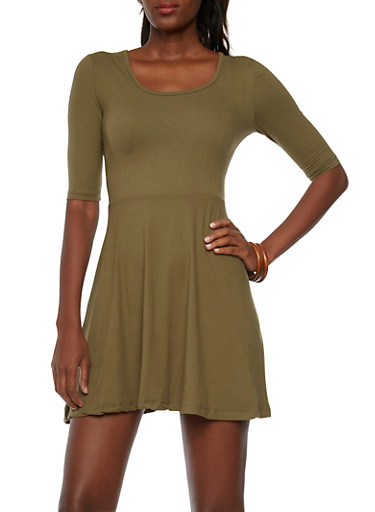 Fit and Flare Dress with Three Quarter Sleeves,OLIVE,large