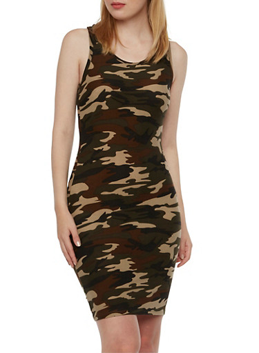Camo Print Mini Dress with Racerback,OLIVE,large