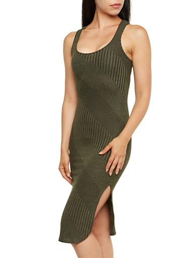 Two-Tone Knit Midi Tank Dress with Slit,OLIVE,large