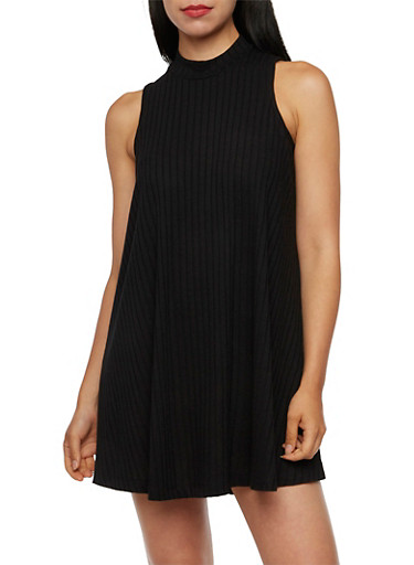 Sleeveless Swing Dress with Mock Neck,BLACK,large