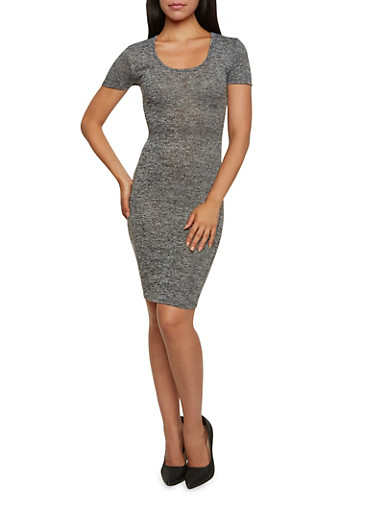 Marled Knit Mini Dress,BLACK,large