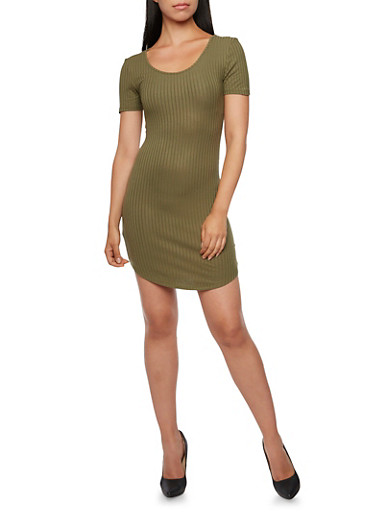Ribbed T-Shirt Dress,OLIVE,large