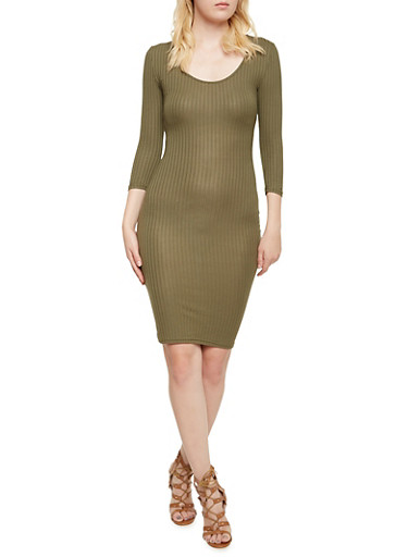 Bodycon Midi Dress in Ribbed Knit,OLIVE,large