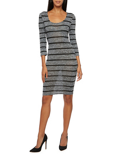 Striped Scoop Neck Bodycon Dress,BLACK,large
