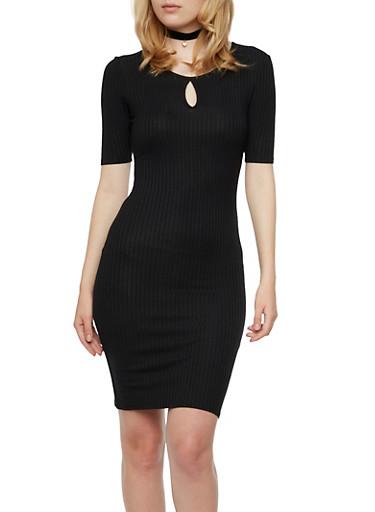 Solid Rib Knit Dress with Keyhole Cutout,BLACK,large