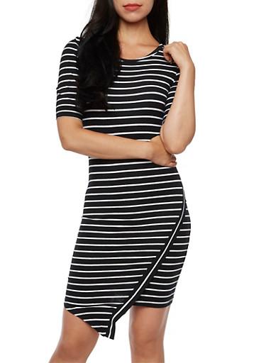 Asymmetric Hem Bodycon Dress with Striped Print,BLACK/WHITE,large