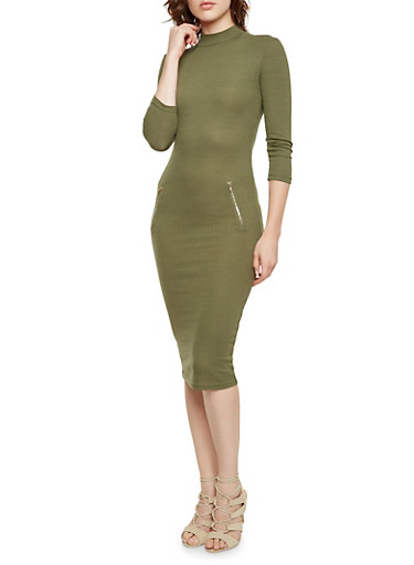 Bodycon Dress with Zip Accents and Mock Neck,OLIVE,large